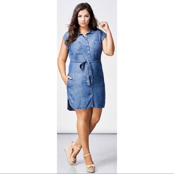 (NWT) Dex Chambray Shirt Dress (Size 2X)